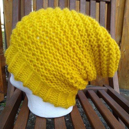 yellow welt stitch slouchy hat